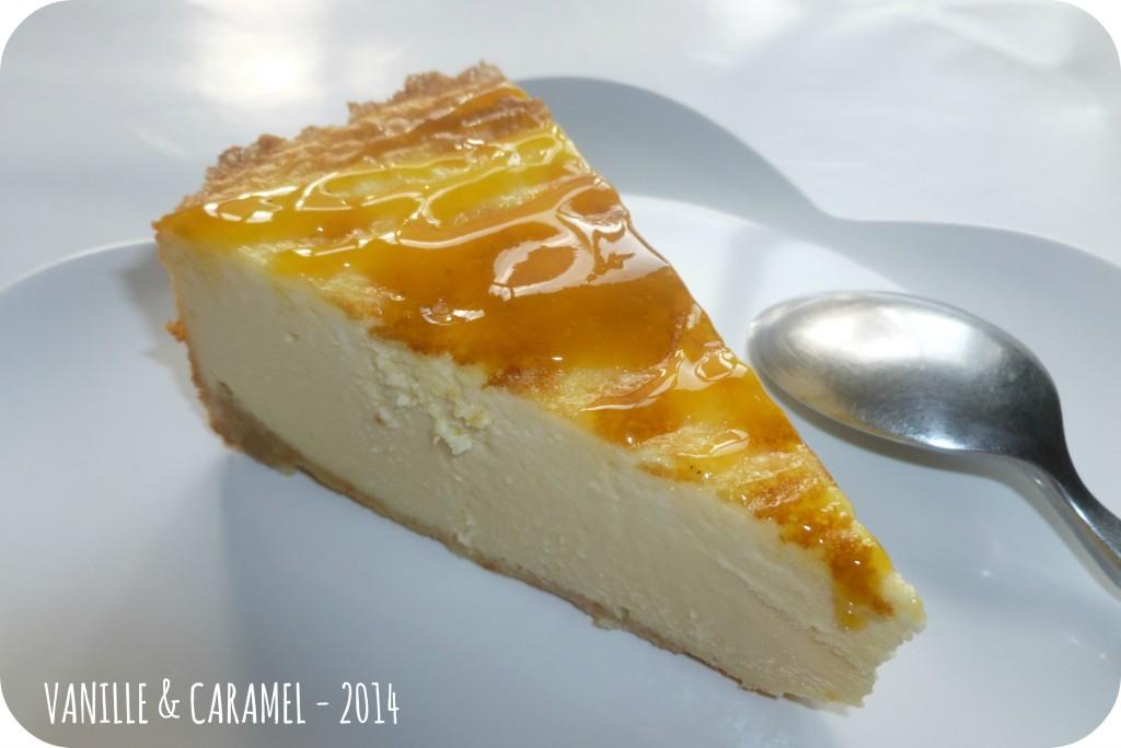 Une part de cheese cake Vanille et Caramel